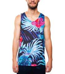 camiseta mxc brasil regata flores folhagem preto - preto - masculino - dafiti