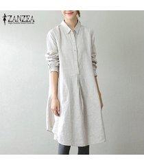 zanzea 2018 mujeres del resorte de la solapa de botones de manga larga vestidos retro casual bolsillos holgados sólido oficina de trabajo vestido más el tamaño m-5xl off white -blanco