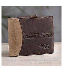 leather wallet, 'ancient bird in espresso' (peru)