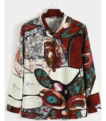 hombres casual stand collar impresión personalizada all over print camisa