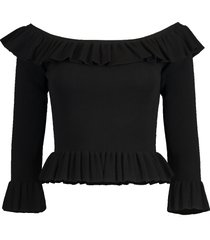viscose ribbed ruffle off the shoulder top