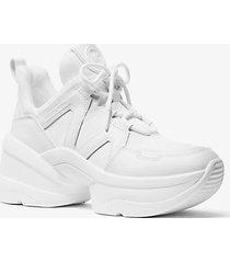 mk sneaker olympia in pelle e tela - bianco ottico (bianco) - michael kors