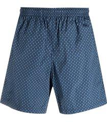 alexander mcqueen skull pattern swim shorts - blue