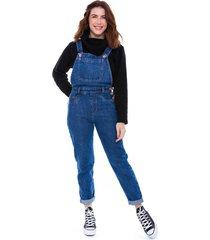 jardineira macacão jeans jogabe azul escuro