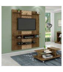 painel móveis bechara sigma tv até 55 pol 6 prateleiras rústica 3d