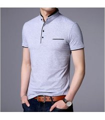 camiseta casual de manga corta en color liso para hombre-gris