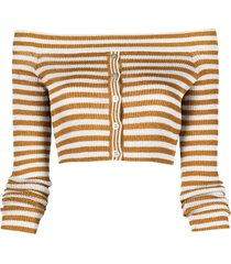 missoni off-shoulder stripe knit cardigan - gold