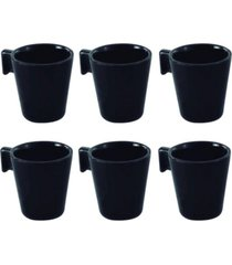 conjunto jogo 6 mini canecas cafã© xãcaras pretas cerã¢mica - multicolorido - dafiti