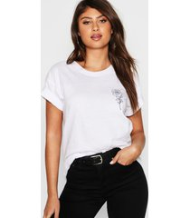 rose pocket print t-shirt, white