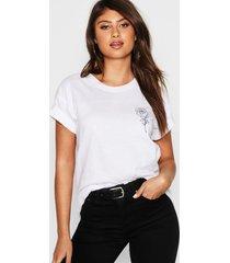 rozen t-shirt met borstopdruk, wit