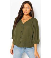 horn button through blouse, military green