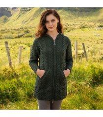 hooded irish aran zipper coat dark green xs