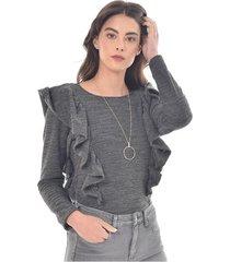 sueter para mujer en doble punto gris color-gris-talla-xxs