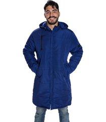 sobretudo jaqueta carbella memory acolchoado capuz removível azul marinho