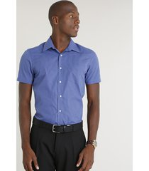 camisa masculina comfort estampada xadrez com bolso manga curta azul