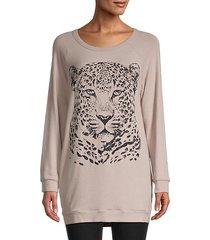 graphic cotton-blend sweater dress
