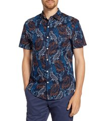men's bonobos slim fit bird print short sleeve button-up shirt