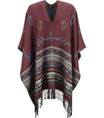 etro jacquard poncho with paisley motifs