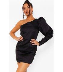 mini jurk met pofmouwen en eén blote schouder, black