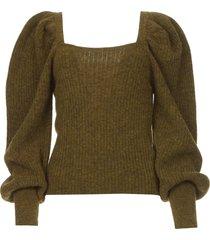 gebreide trui met pofmouwen alpaca  groen