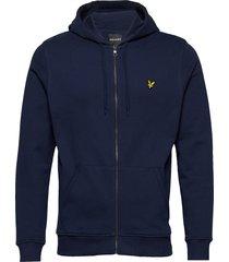 zip through hoodie hoodie trui blauw lyle & scott
