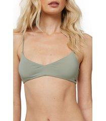women's o'neill saltwater bralette bikini top, size large - grey