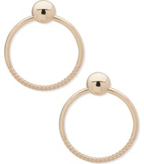 anne klein gold-tone textured drop hoop earrings