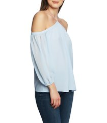 women's 1.state off the shoulder sheer chiffon blouse, size x-small - blue