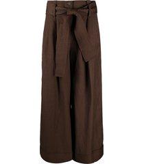 p.a.r.o.s.h. tie-waist wide-leg trousers - brown