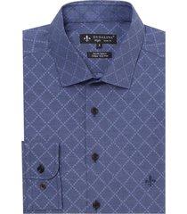 camisa dudalina manga longa jacquard fio tinto masculina (azul marinho, 6)