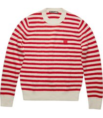 striped wool sweater, red and white