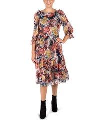 donna ricco ruffled tiered midi dress