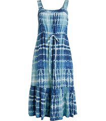 stina tie-dye flounce a-line dress