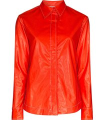 markoo faux leather shirt - red