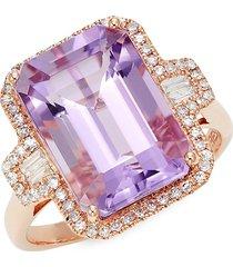 effy women's 14k rose gold amethyst & diamond rectangle ring - size 7