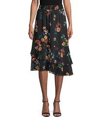 botanical-print asymmetrical skirt