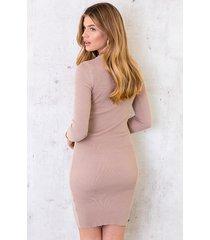 stretch jurk ribstof beige