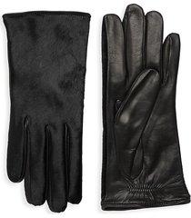 portolano women's dyed calf hair leather gloves - black - size 7