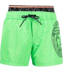 versace medusa head motif swim shorts - green