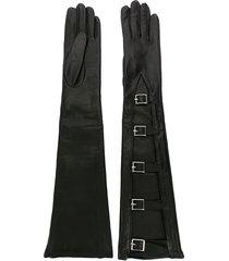 manokhi buckled long gloves - black
