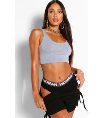 tall basic crop top met lage ronde hals, grey