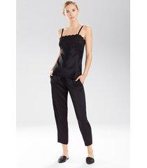 rose parfait camisole with lace pajamas, women's, black, 100% silk, size s, josie natori