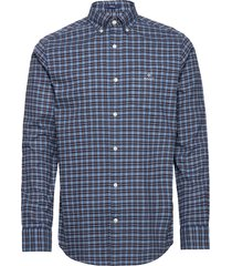 d1. brushed oxford check reg bd skjorta casual blå gant