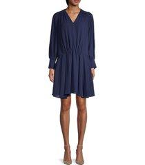 kenzo women's pleated blouson dress - midnight blue - size 36 (4)