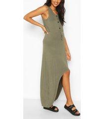 zwangerschap borstvoeding midi jurk met knopen, khaki