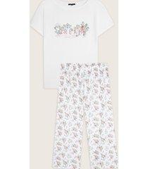 pijama conjunto camiseta y pantalón capri estampado-l