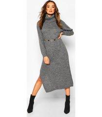 fijn gebreide midaxi trui jurk met col, grijs
