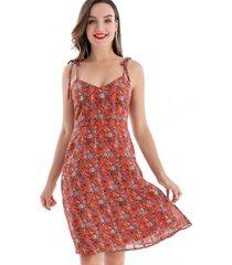 vestido flores pabilo naranjo nicopoly