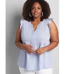 lane bryant women's notch-neck babydoll blouse 18p rope stripe