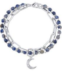 unwritten genuine sodalite stone double strand crystal moon charm link fine plated silver bracelet